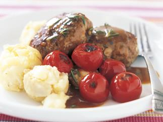 lamb rissoles with potato crush and rosemary gravy