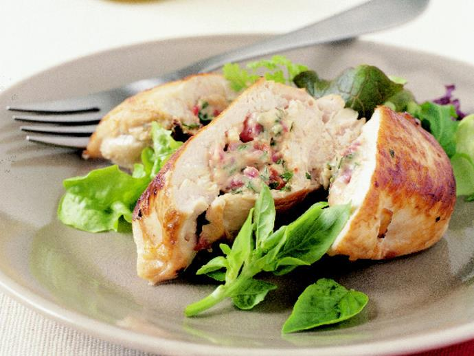 """[Succulent chicken breasts stuffed with ricotta and basil](https://www.womensweeklyfood.com.au/recipes/chicken-stuffed-with-ricotta-and-basil-11629