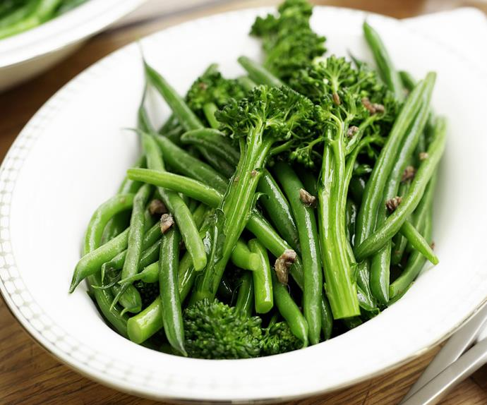 Broccolini and beans with garlic and anchovies