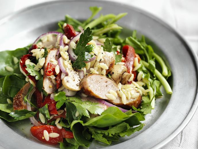 """**[Pork chipolata and risoni salad](https://www.womensweeklyfood.com.au/recipes/pork-chipolata-and-risoni-salad-11644