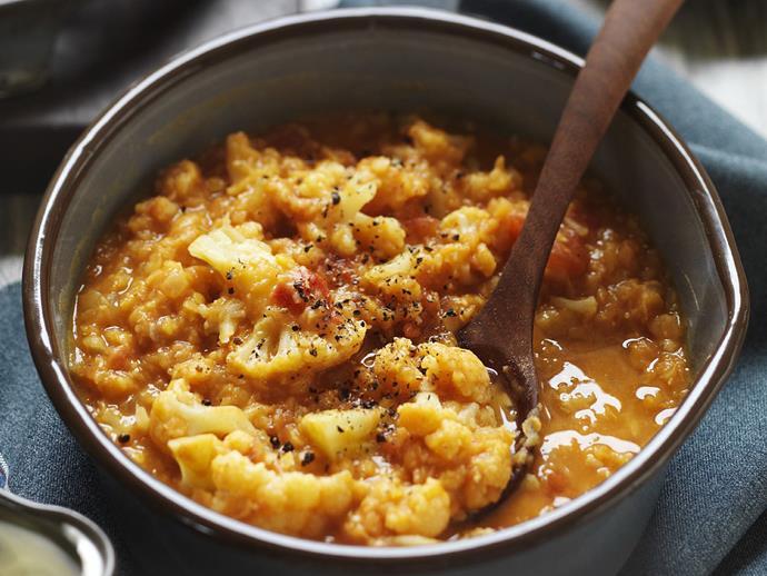 "**[Cauliflower dhal](https://www.womensweeklyfood.com.au/recipes/cauliflower-dhal-11653|target=""_blank"")**  Vegetarian never tasted so good."