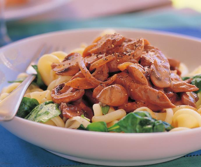VEAL STROGANOFF WITH BUTTERED SAGE PASTA