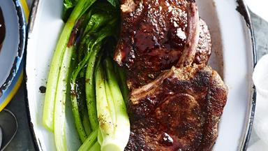 Five-spice pork cutlets with plum sauce