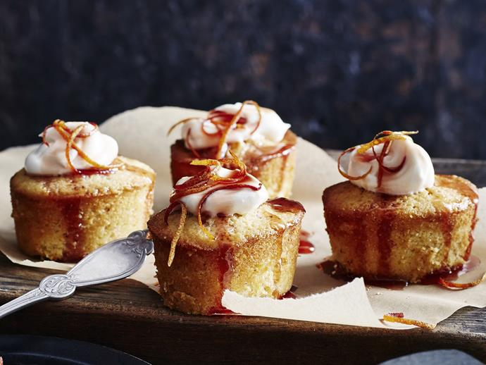 """**[Blood orange syrup cakes with orange cream](https://www.womensweeklyfood.com.au/recipes/blood-orange-syrup-cakes-with-orange-cream-11211