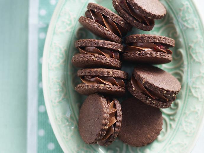 "**[Hazelnut moments with choc berry filling](https://www.womensweeklyfood.com.au/recipes/hazelnut-moments-with-choc-berry-filling-11285|target=""_blank"")**  Who can resist the decadent combination of hazelnut, chocolate and raspberry?"