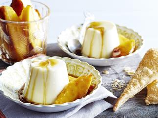 COCONUT PANNA COTTA WITH MANGO AND COCONUT WAFERS