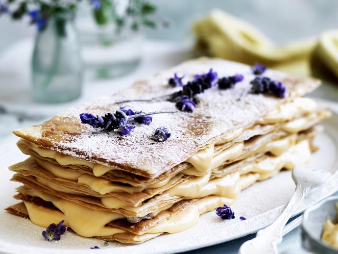 """[**Lavender fillo mille feuille**](https://www.womensweeklyfood.com.au/recipes/lavender-fillo-mille-feuille-4701 target=""""_blank"""")**"""