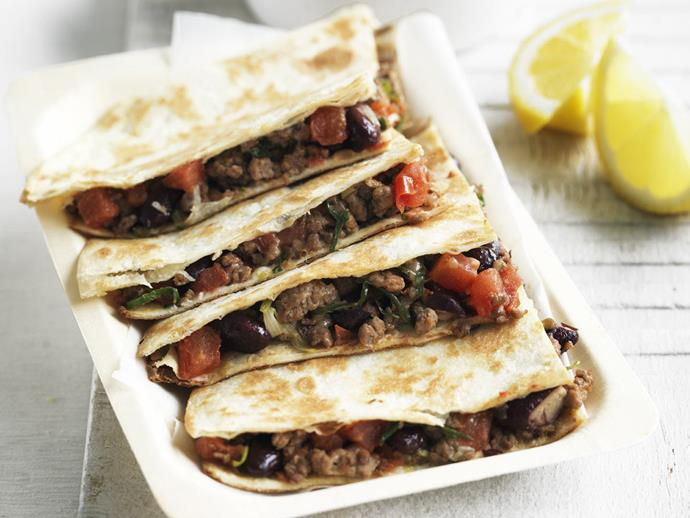 """Both kids and adults alike will love these Tex-Mex [beef quesadillas](http://www.womensweeklyfood.com.au/recipes/beef-quesadillas-15005