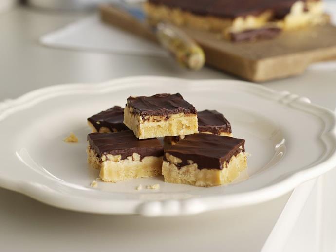 "**[Choc-peanut caramel slice](https://www.womensweeklyfood.com.au/recipes/choc-peanut-caramel-slice-11330|target=""_blank"")**  Just wait for the hidden crunch."