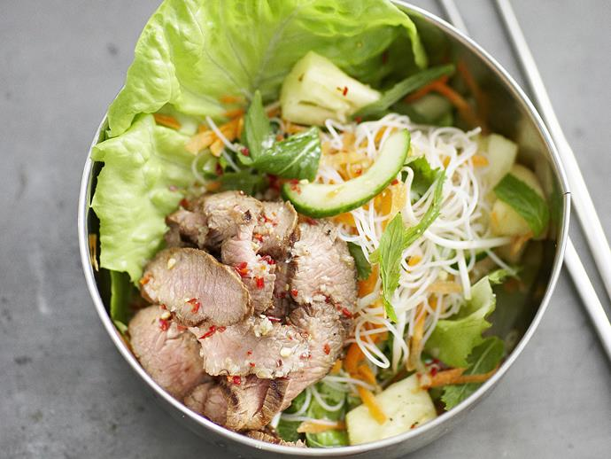 "[Fragrant lemongrass lamb](https://www.womensweeklyfood.com.au/recipes/lemon-grass-lamb-with-vietnamese-vermicelli-salad-11332|target=""_blank"") with an exquisitely fresh Vietnamese vermicelli salad."