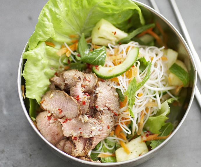 Lemon grass lamb with vietnamese vermicelli salad