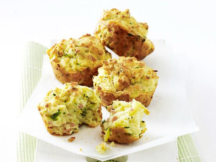 "**[Ham, zucchini and chive muffins](https://www.womensweeklyfood.com.au/recipes/ham-zucchini-and-chive-muffins-11334|target=""_blank"")**"
