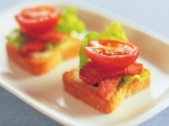 "**[BLT on mini toasts](https://www.womensweeklyfood.com.au/recipes/blt-on-mini-toasts-11344|target=""_blank"")**"