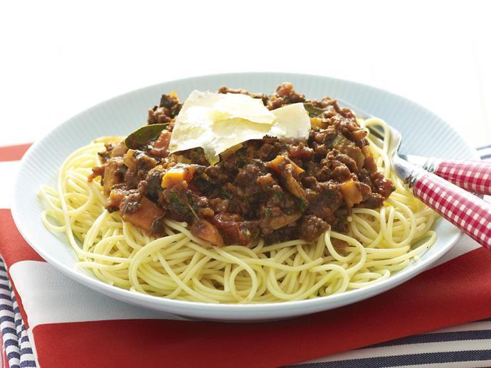 """**[Spaghetti bolognese](https://www.womensweeklyfood.com.au/recipes/spaghetti-bolognese-11346