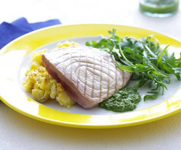 tuna with basil pesto