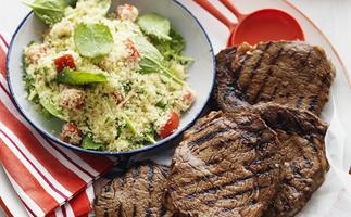 rib-eye steaks with couscous salad