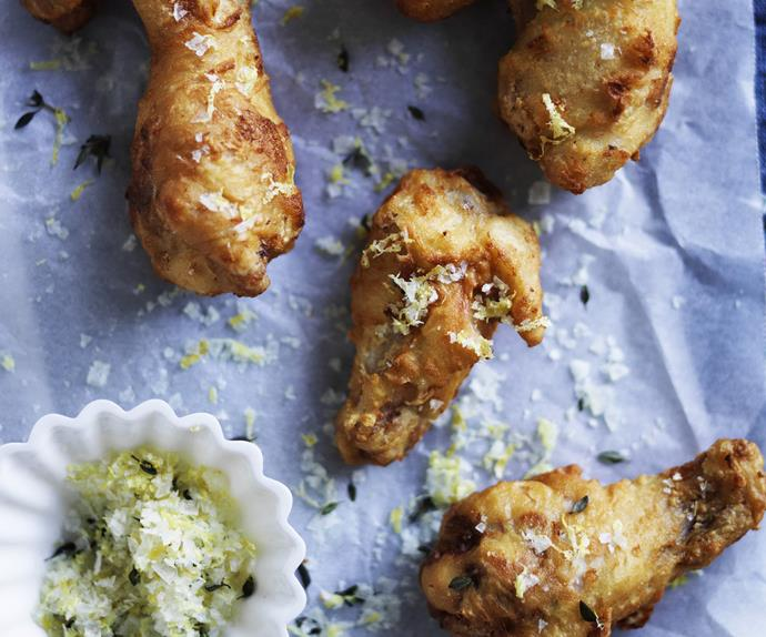 fried buttermilk and mustard chicken wings