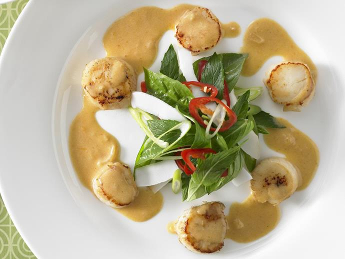 "Light and refreshing entrée of [Thai coconut scallops](https://www.womensweeklyfood.com.au/recipes/thai-coconut-scallops-11493|target=""_blank"") for sharing with friends and family."