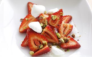 strawberries in rosewater syrup
