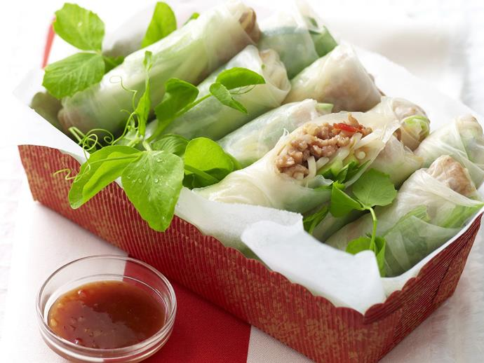 "**[Hoisin turkey rice paper rolls](https://www.womensweeklyfood.com.au/recipes/hoisin-turkey-rice-paper-rolls-10929|target=""_blank"")**"