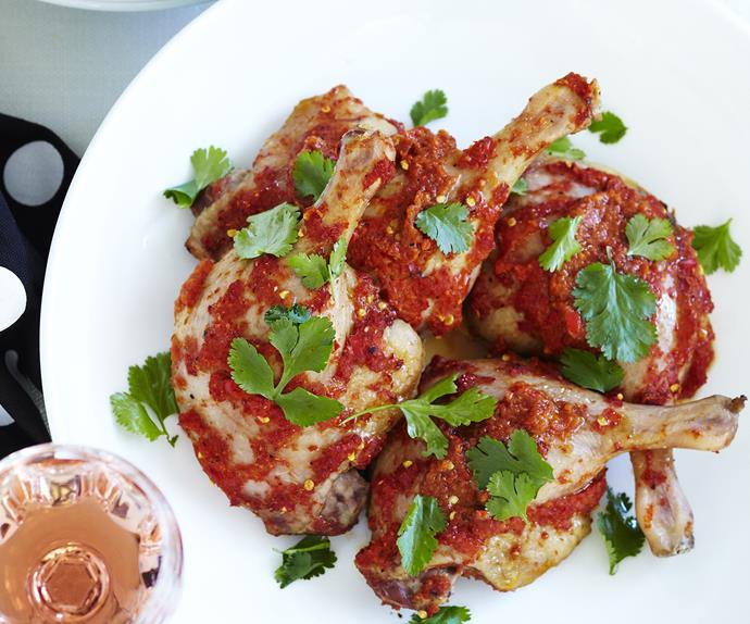harissa duck marylands with pomegranate dressing