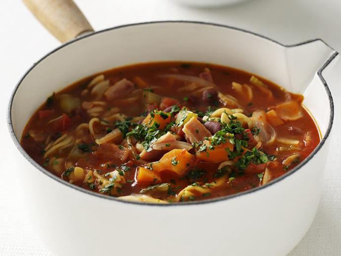"""**[Speedy minestrone](https://www.womensweeklyfood.com.au/recipes/speedy-minestrone-4570 target=""""_blank"""")**"""