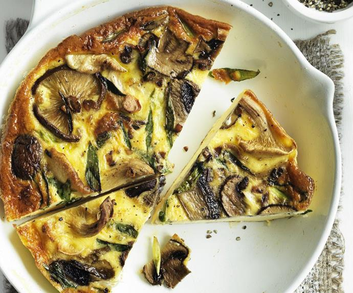 wild mushroom and green onion frittata