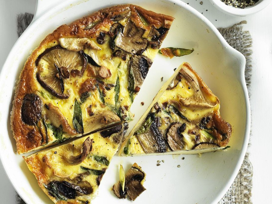 "This deliciously earthy [wild mushroom and green onion frittata](https://www.womensweeklyfood.com.au/recipes/wild-mushroom-and-green-onion-frittata-10948|target=""_blank"") is a wonderful vegetarian option."