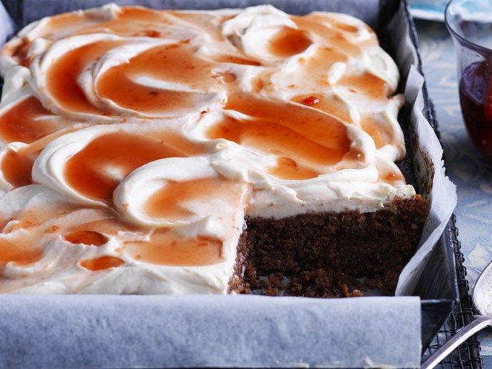 spiced walnut & chocolate cake with poached quince