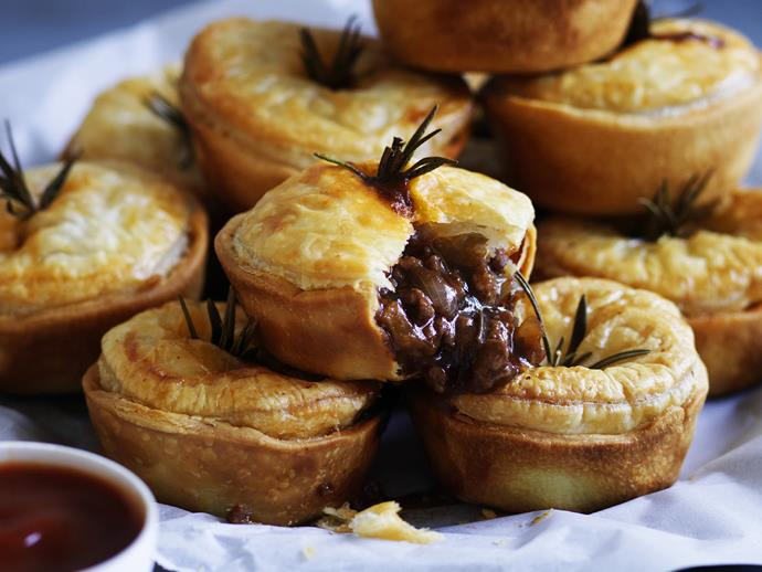 """**[Red wine and rosemary mini beef pies](https://www.womensweeklyfood.com.au/recipes/red-wine-and-rosemary-mini-beef-pies-4585