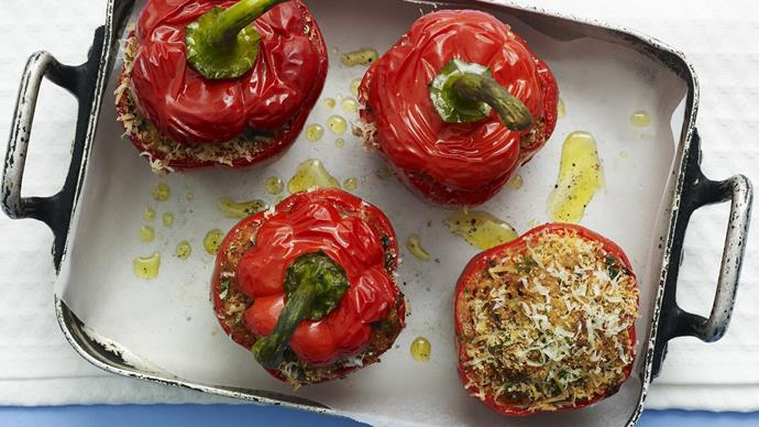 Mince and rice stuffed capsicums