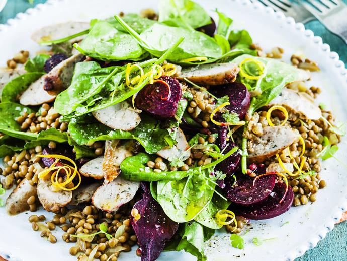 "Healthy and delicious [warm beetroot and lentil salad with pork sausages](https://www.womensweeklyfood.com.au/recipes/warm-beetroot-and-lentil-salad-with-pork-sausages-11025|target=""_blank"")."