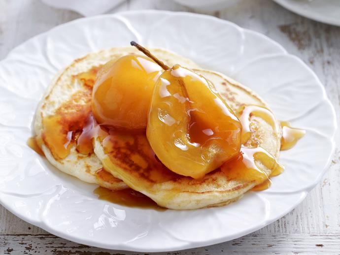 """Delight the family this weekend with these fluffy [buttermilk pancakes topped with sweet syrupy pears](https://www.womensweeklyfood.com.au/recipes/pancakes-with-golden-pears-11061