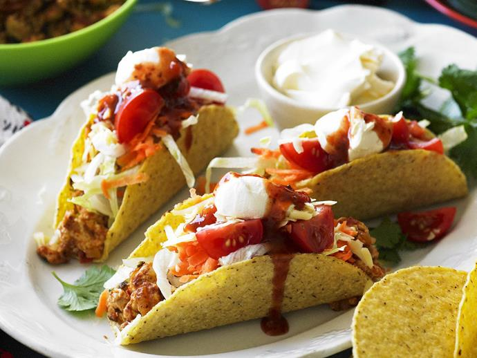 """**[Spicy chicken tacos](https://www.womensweeklyfood.com.au/recipes/spicy-chicken-tacos-4627