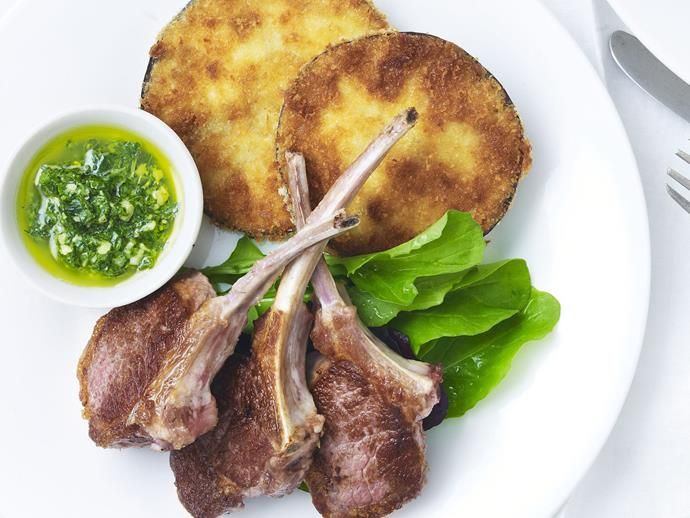 "It's not just chicken - these [baked lamb cutlets with crumbed eggplant](https://www.womensweeklyfood.com.au/recipes/lamb-cutlets-with-crumbed-eggplant-and-pesto-11069|target=""_blank""), [parmesan crumbed cutlets](https://www.womensweeklyfood.com.au/recipes/parmesan-crumbed-lamb-cutlets-9773