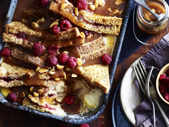"""**[Peanut butter & jelly bread & butter pudding](https://www.womensweeklyfood.com.au/recipes/peanut-butter-and-jelly-bread-and-butter-pudding-4636