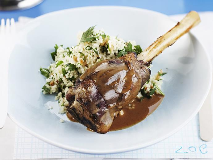 """**[Rosemary-scented lamb shanks with almond couscous](https://www.womensweeklyfood.com.au/recipes/rosemary-scented-lamb-shanks-with-almond-couscous-4642