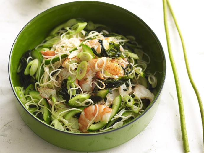 "**[Somen noodle, prawn and cucumber salad](https://www.womensweeklyfood.com.au/recipes/somen-noodle-prawn-and-cucumber-salad-4426|target=""_blank"")**"