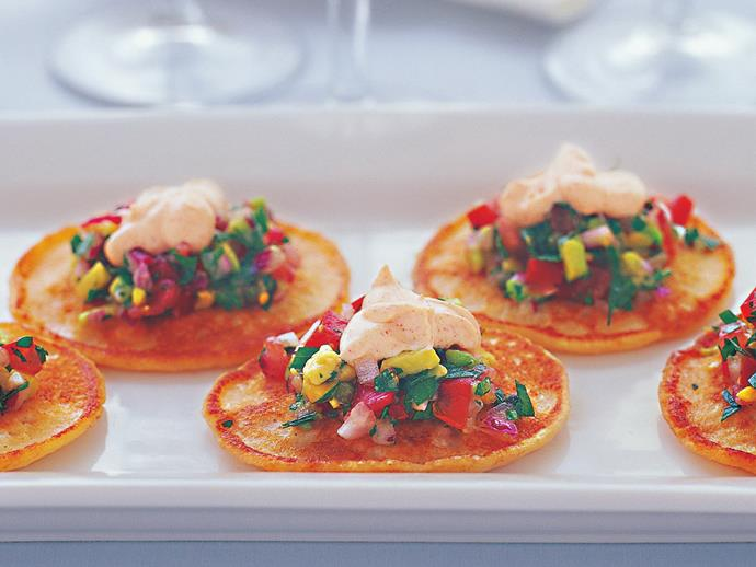 "**[Potato blini with salsa cruda](https://www.womensweeklyfood.com.au/recipes/potato-blini-with-salsa-cruda-4428 target=""_blank"")**"