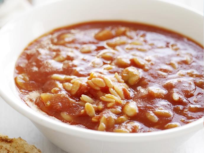 """A rich and hearty [white bean and chickpea soup with risoni](https://www.womensweeklyfood.com.au/recipes/white-bean-and-chickpea-soup-with-risoni-11150