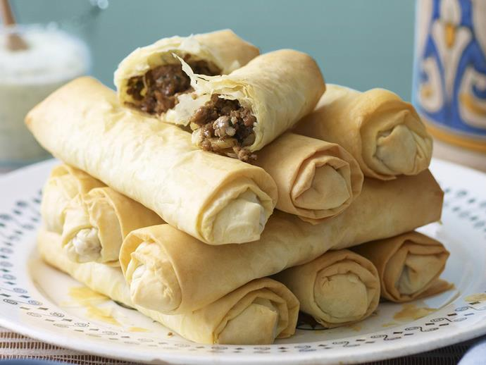 """Serve these spiced [Moroccan filo cigars](https://www.womensweeklyfood.com.au/recipes/briwat-lamb-filo-cigars-11156 target=""""_blank"""") with a herbed yoghurt dipping sauce as a tasty snack or starter."""