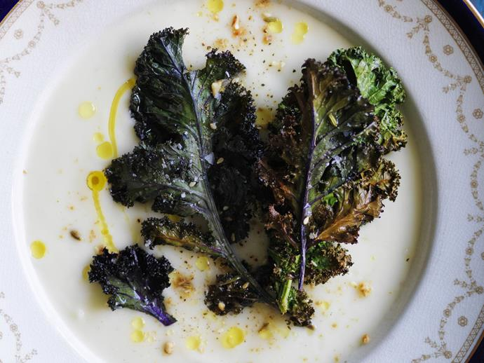 "[Parsnip soup with kale chips](https://www.womensweeklyfood.com.au/recipes/parsnip-soup-with-kale-chips-4438|target=""_blank"")"