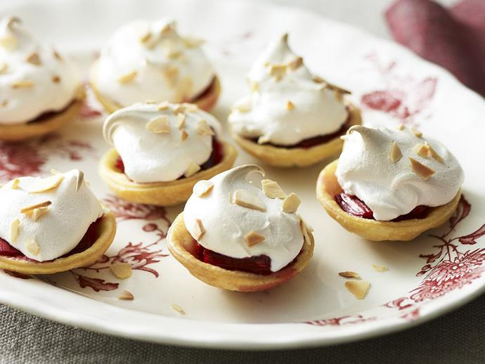 "[Rhubarb pies with meringue topping recipe.](http://www.foodtolove.com.au/recipes/rhubarb-pies-with-meringue-topping-29249|target=""_blank"")"