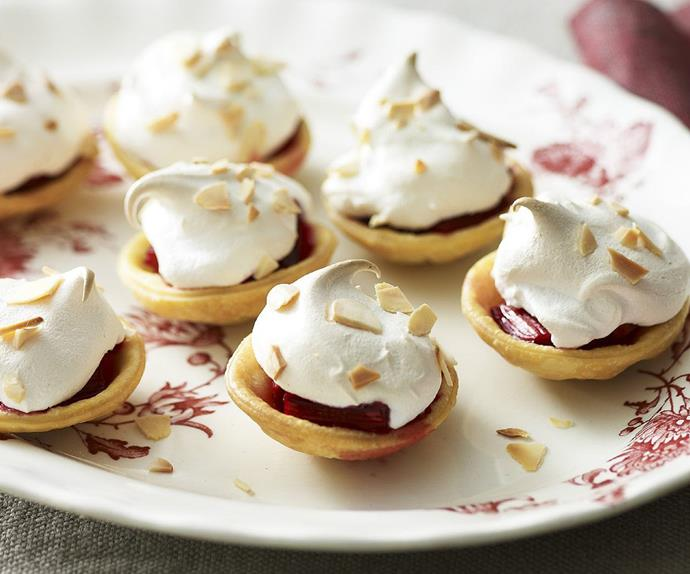 RHUBARB PIES WITH MERINGUE TOPPING