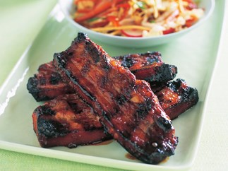 FIVE-SPICE PORK BELLY RIBS WITH CRUNCHY NOODLE SALAD