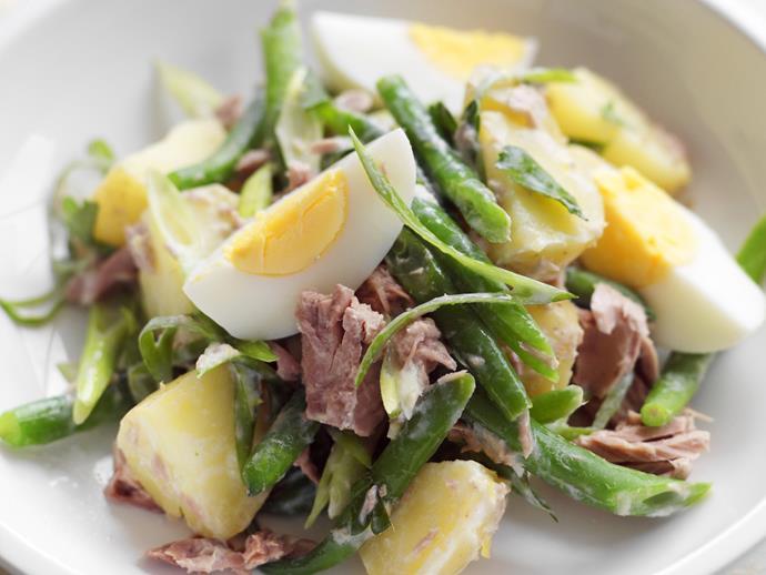 "**[Potato, tuna and egg salad](https://www.womensweeklyfood.com.au/recipes/potato-tuna-and-egg-salad-10670|target=""_blank"")**"