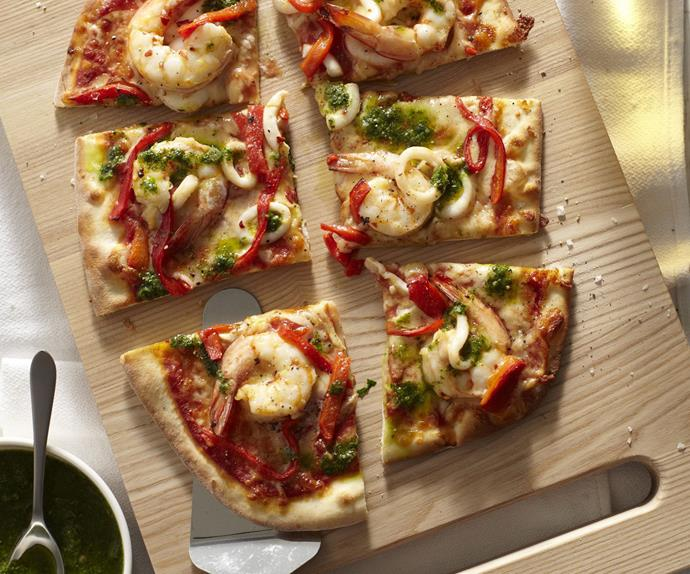 prawn, squid and salsa verde pizza