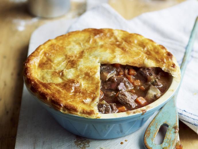 "**[Steak and kidney pie](https://www.womensweeklyfood.com.au/recipes/steak-and-kidney-pie-10688|target=""_blank"")**"