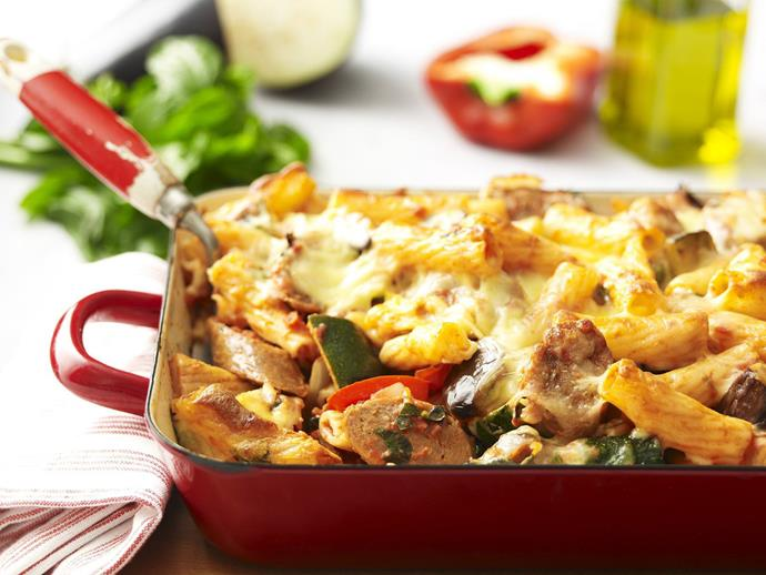 """**[Spicy sausage pasta bake](https://www.womensweeklyfood.com.au/recipes/spicy-sausage-pasta-bake-4512