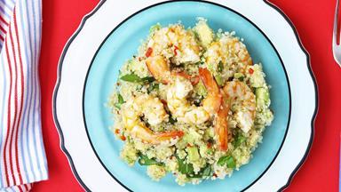 Quinoa and citrus prawn salad